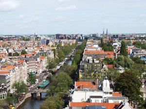 Luchtfoto Amsterdam, puntentelling huurwoningen