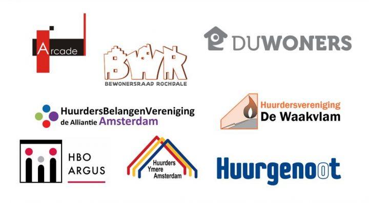 Logo's huurderverenigingen die pamflet ondertekenen